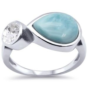 natural larimar pear shape and cubic zirconia ring